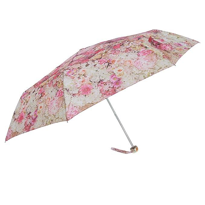 Susino - Paraguas plegable con estampado floral (Talla Única/Oro)