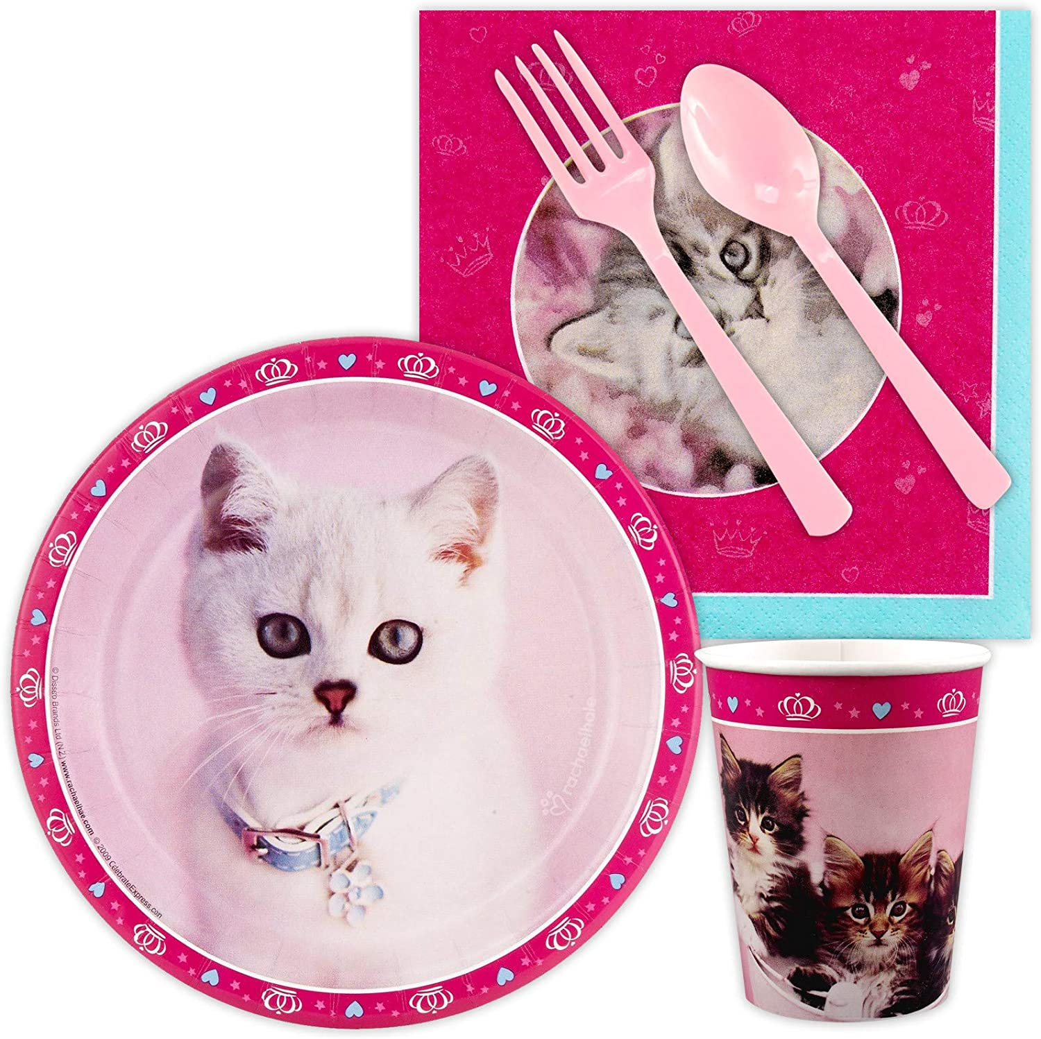 Banner and Cutlery in Pink Purrfect Deluxe Birthday Party Bundle 16 Knives, Forks, Spoons Serves 8 inc Banner 8-9oz Cups 16 Large Lunch Napkins - 87 pcs: 8 Lunch Plates and 8 Dessert Plates