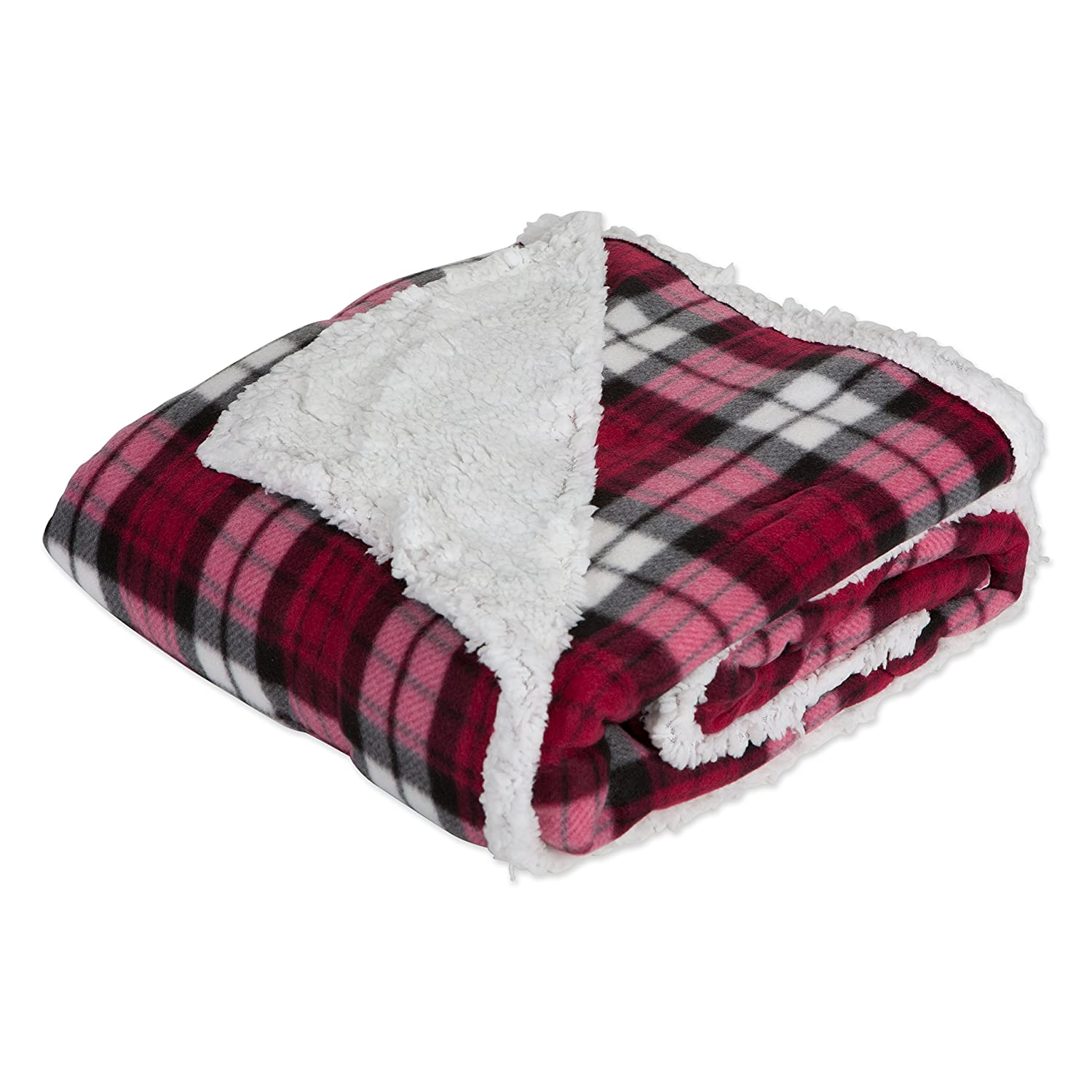 J&M Home Fashions Plaid Fleece Plush Throw Blanket, 50