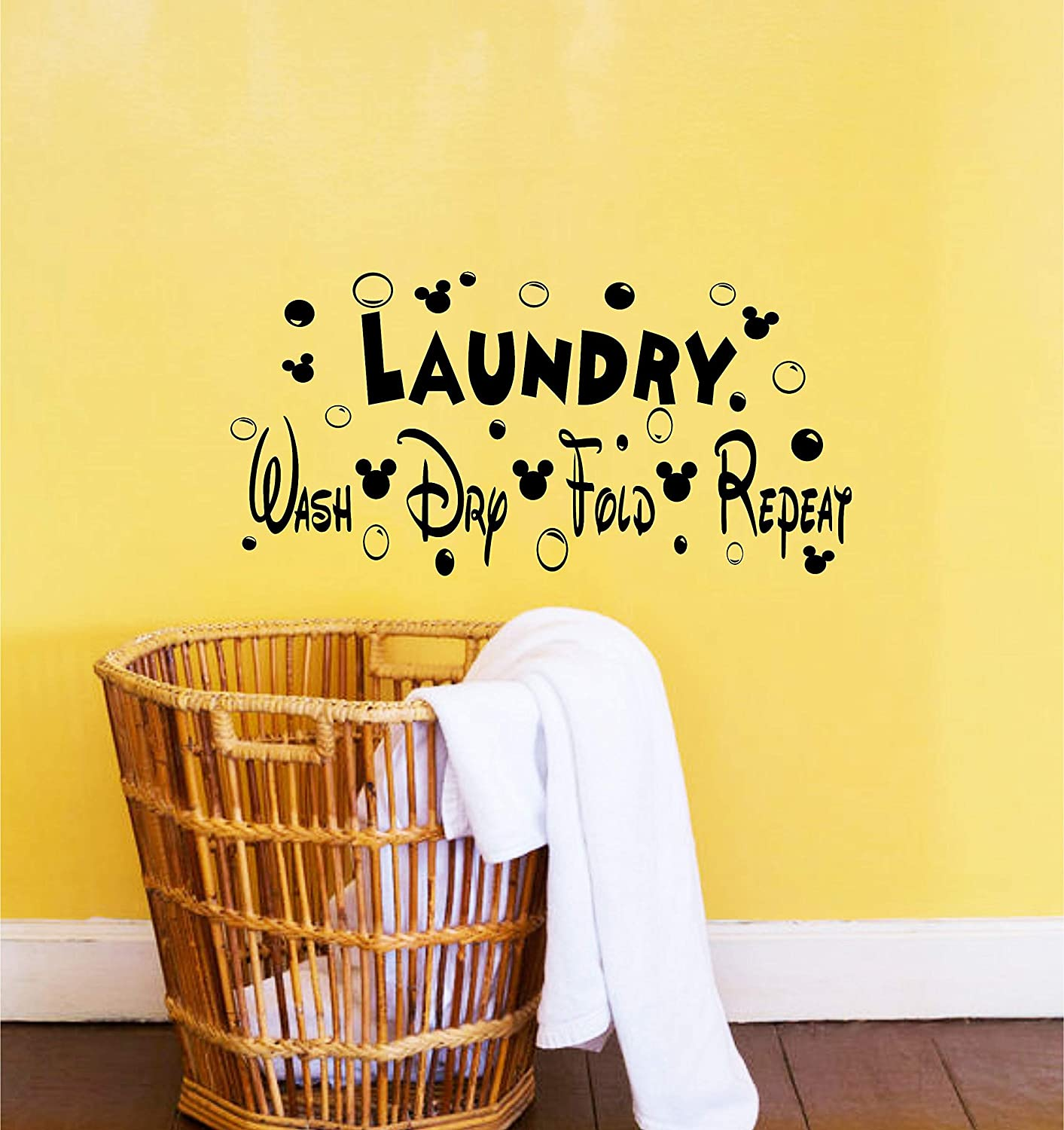 Best Design Amazing Disney Decor-Disney Decals-Laundry Room Decor-Wash Dry Fold Repeat-Mickey-Laundry Sign-Disney Signs-Disney Wall Quotes-Laundry Room Decals Made in USA!