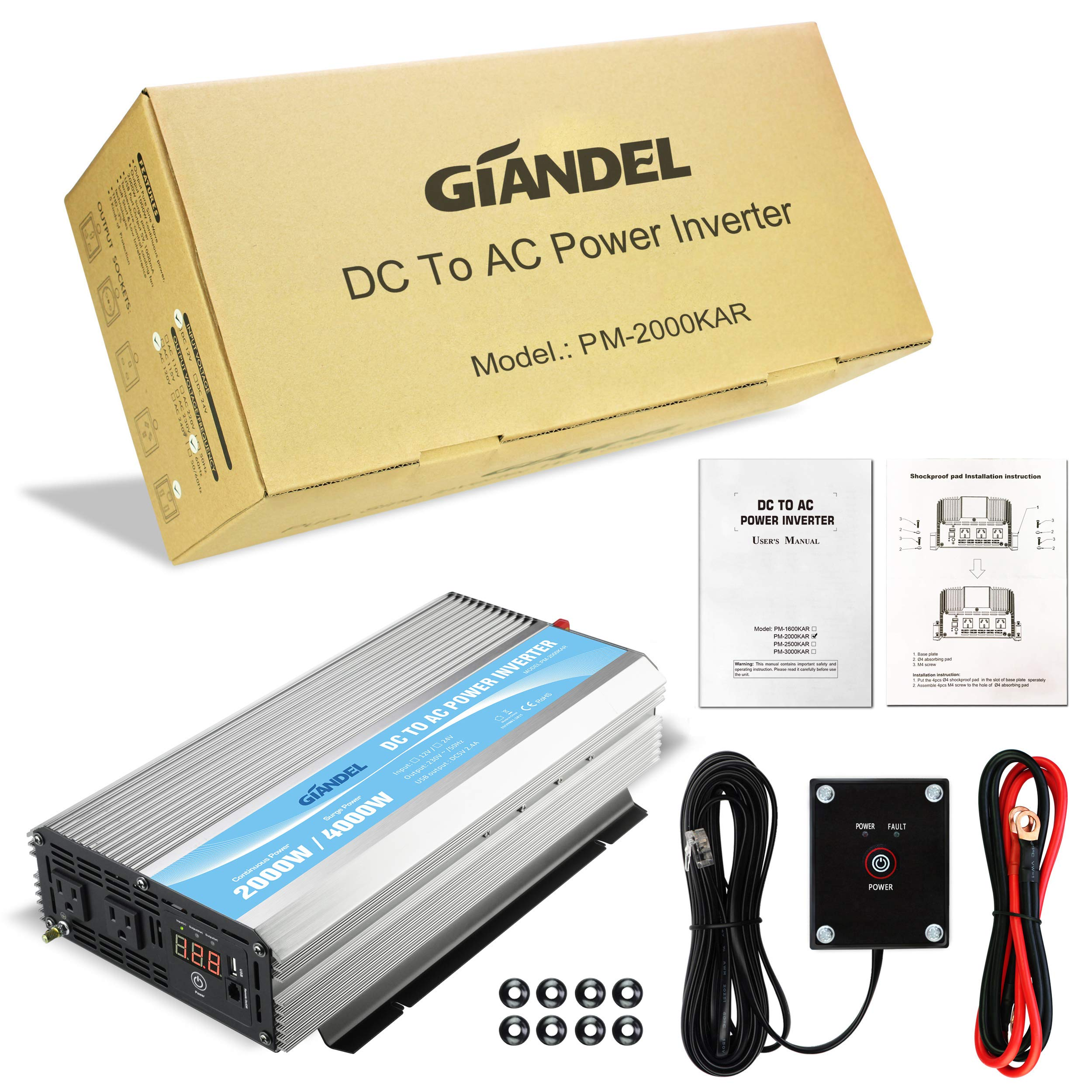 GIANDEL 2000W Power Inverter 12V DC to 110V 120V AC with Remote Control and LED Display Dual AC Outlets & USB Port for RV Truck Boat by Giandel (Image #6)