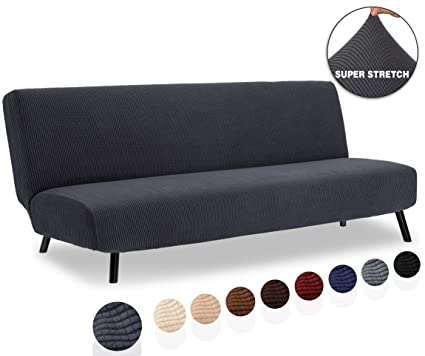 TIANSHU Armless Sofa Cover, Stretch Sofa Bed Cover , Anti-Slip Protector for Couch Without Armrests, Spandex Jacquard Fabric Slipcover Futon Cover ...