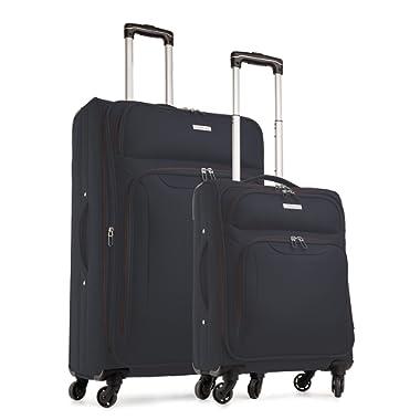 TravelCross Barcelona Luggage 2 Piece Lightweight Expandable Spinner Set - Dark Gray