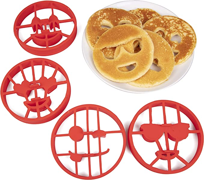 Silicone Waffle Baking Mold Omelette Fried Egg Ring Mold Biscuit Pancake Chocolate Baking Tray Mould Tool Home Kitchen Accessories Heart-Shaped Nonstick Pancake Maker Mould Red