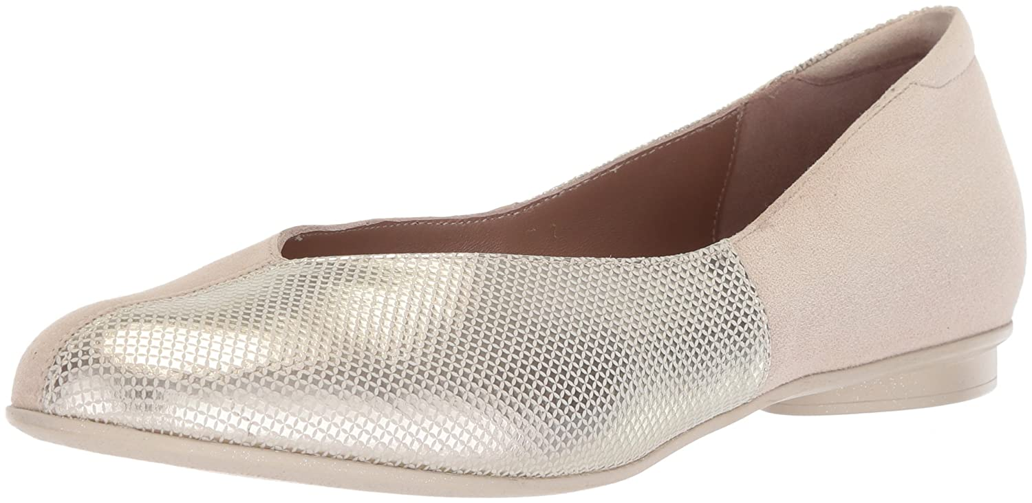 gold Pixel Print Suede Combination BeautiFeel Womens Amada Ballet Flat