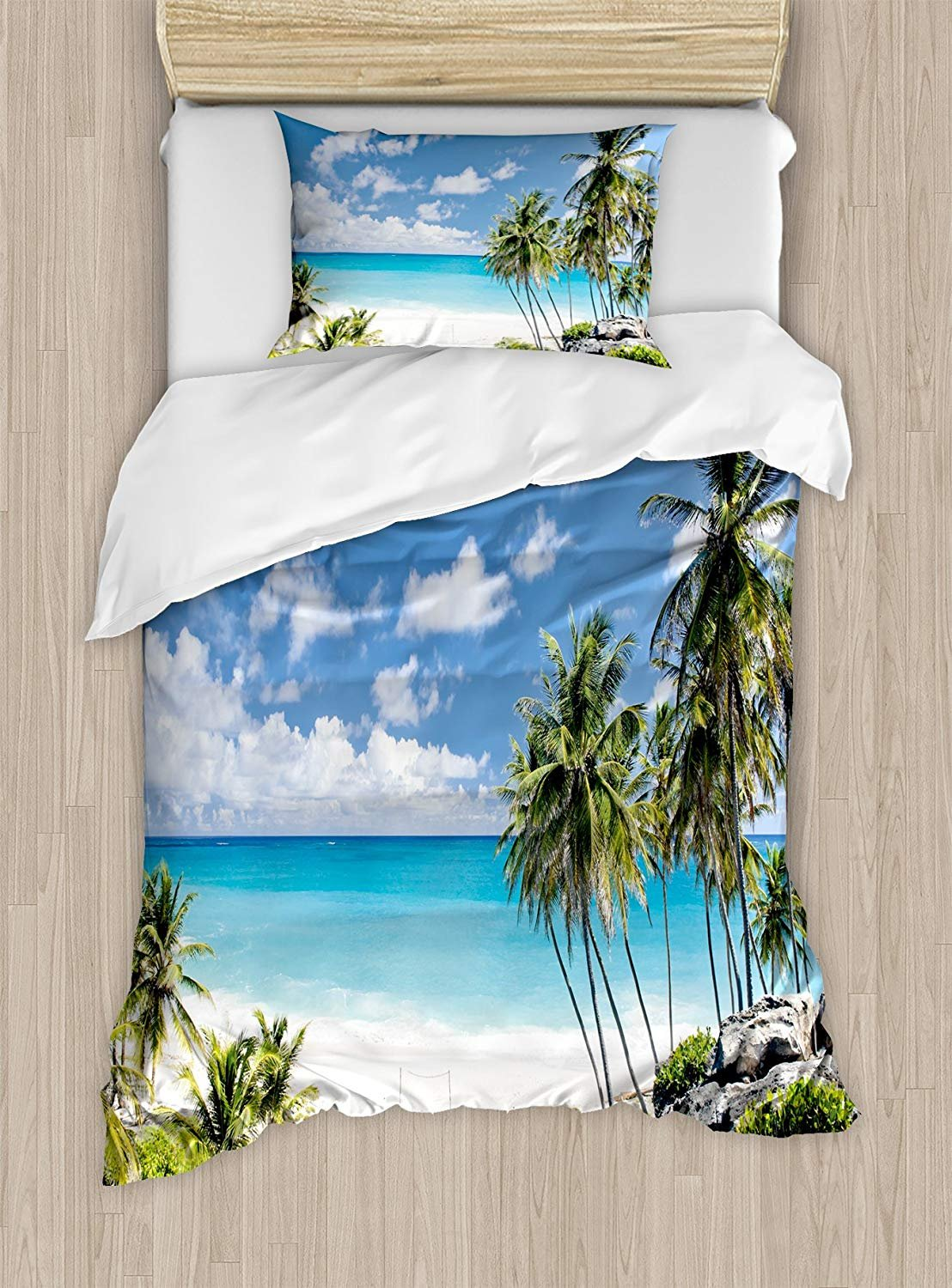 Twin XL Extra Long Bedding Set, Summer Duvet Cover Set, Bottom Bay Barbados Beach Tropical Palms Ocean Holiday Paradise Coast Charm Picture, Cosy House Collection 4 Piece Bedding Sets