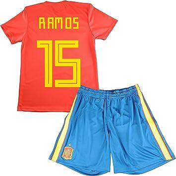 Equipación de Sergio Ramos. Réplica Oficial de la Primera Equipación de la Selección Española para el Mundial de Rusia 2018 (Rojo, Talla 14): Amazon.es: Deportes y aire libre