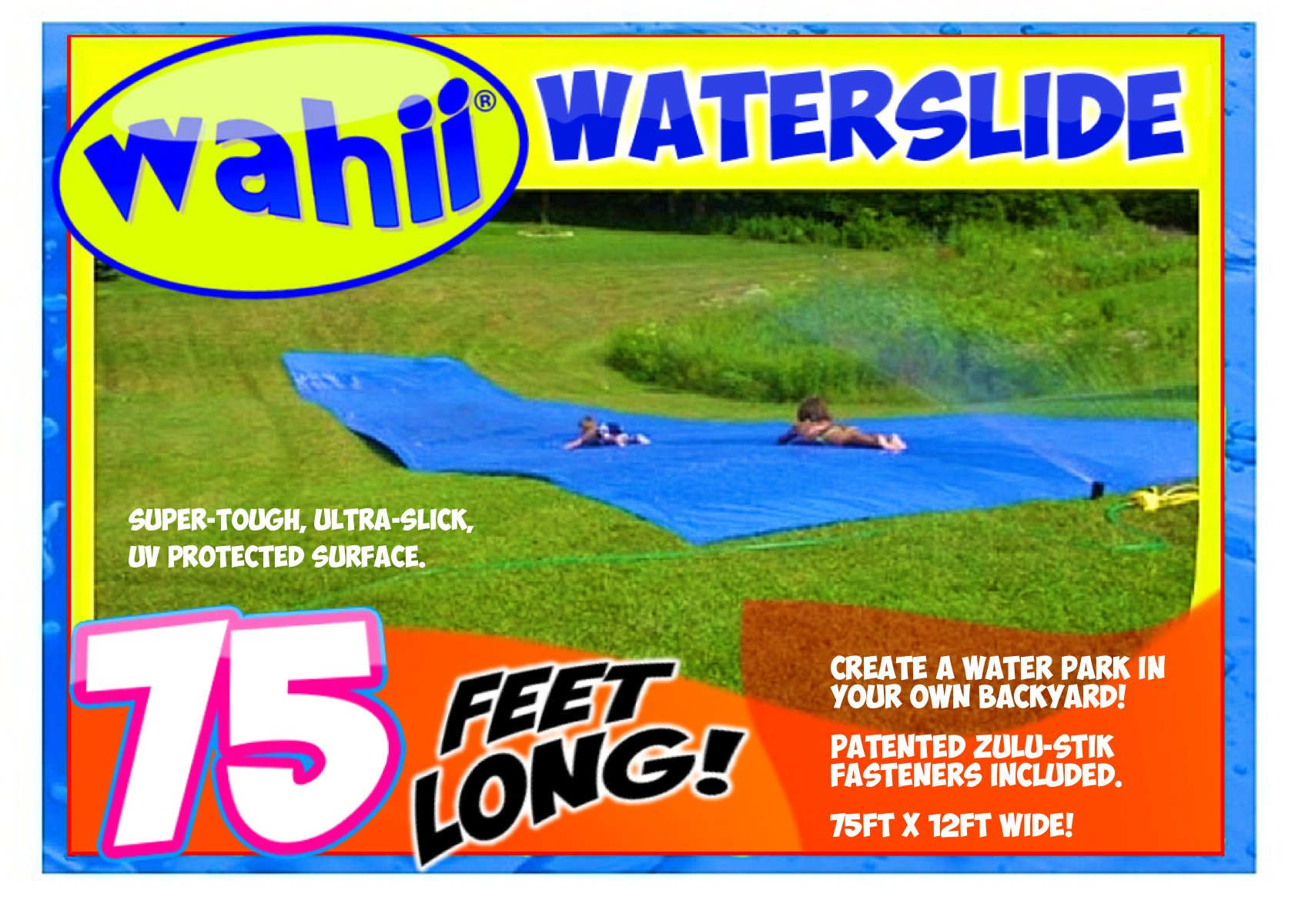 WAHII WaterSlide 75' x 12' - World's Biggest Backyard Lawn Water Slide by WAHII