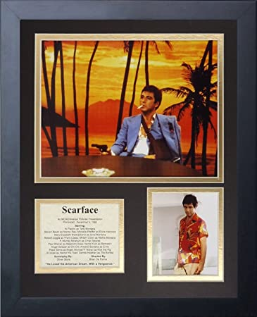 11x14 Framed Scarface Al Pacino Cast List Tony Montana Gun Shot 8x10
