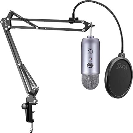 White with Knox Gear Shock Mount Blue Snowball iCE Mic