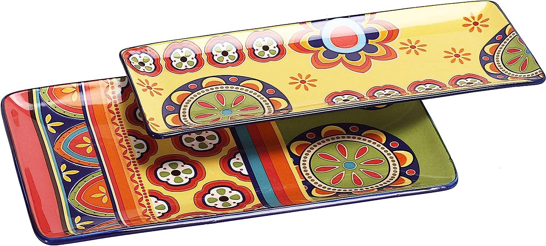 Bico Tunisian Ceramic 14 inch Rectangular Serving Platter, Set of 2, for Serving Salad, Pasta, Cheese, Ham, Appetizer, Microwave & Dishwasher Safe