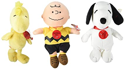 Amazon Com Ty Beanie Babies Peanuts Characters Set Of 3