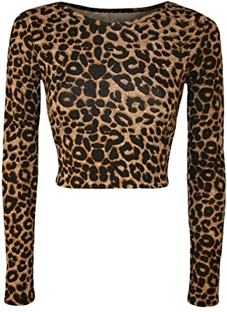 NEW WOMENS PRINTED LONG SLEEVE LEOPARD TARTAN CAMOUFLAGE PRINT CROP TOP UK  8-14: Amazon.co.uk: Clothing