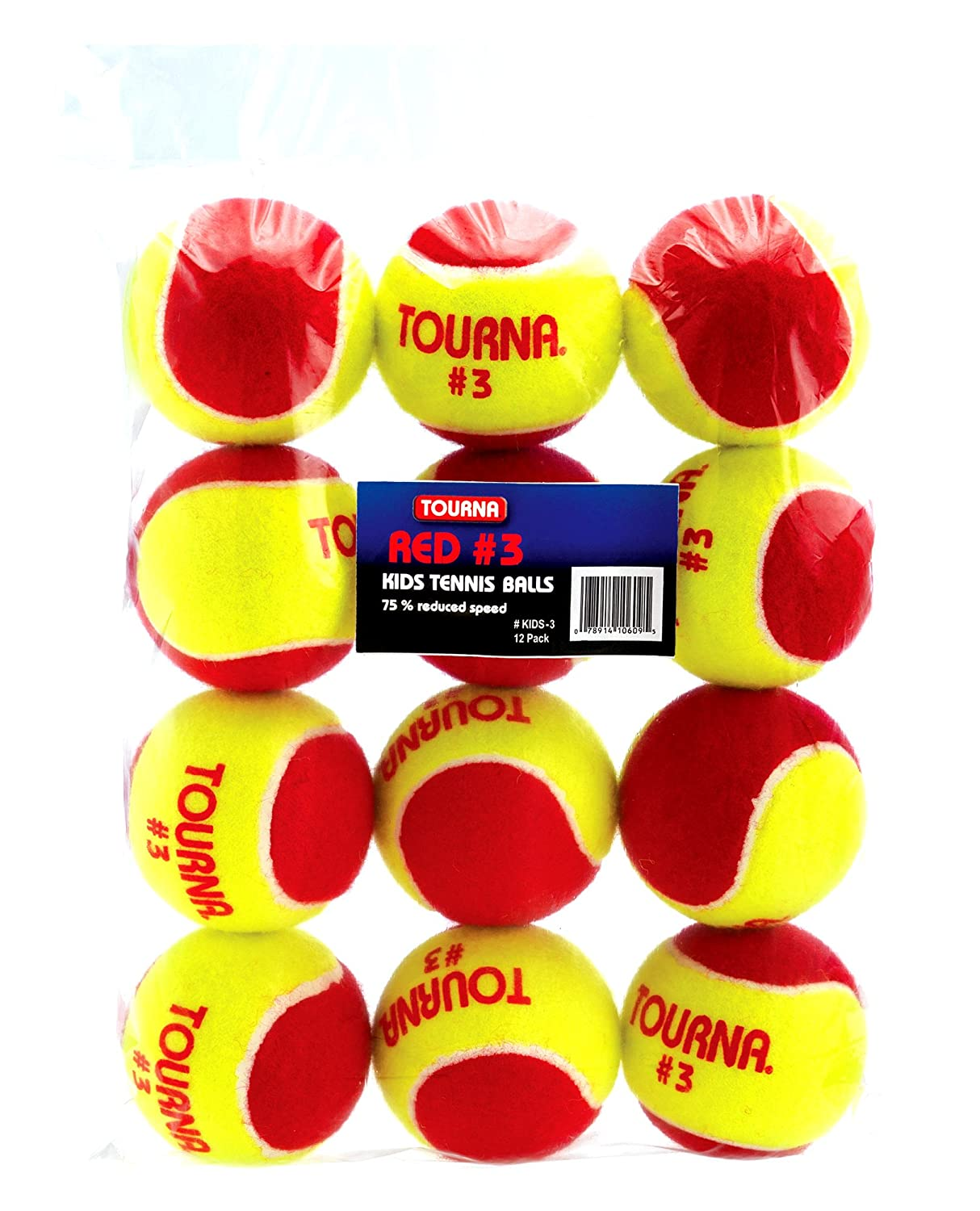 Tourna Low Compression Quickstart Tennis Balls for 36-Feet Court (Pack of 12) Kids-3