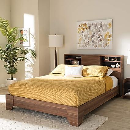 . Baxton Studio Vanda Modern Contemporary Two Tone Walnut Black Wood Queen  Size Platform Bed Contemporary Black Walnut Brown Particle Board MDF PU