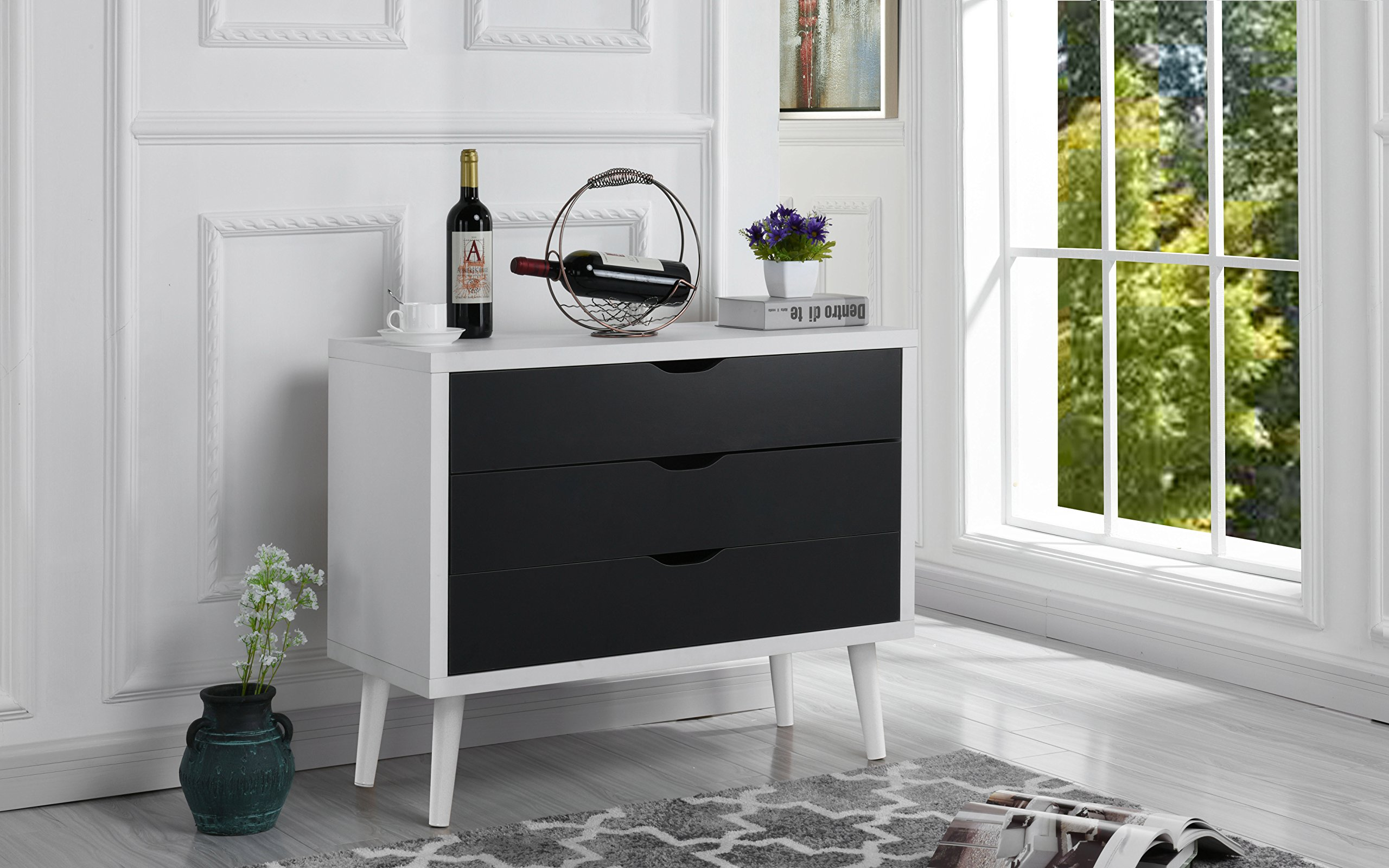Mid-Century Modern Dresser Chest of Drawers, Entryway Chest with 3 Drawers (White/Dark Grey)