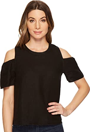 Three Dots Womens Woven Linen Cold Shoulder Mid Shirt