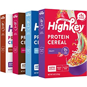 HighKey Protein Snacks - Keto Breakfast Cereals - 0 Net Carb & Zero Sugar, Grain & Gluten Free Cereal Snack - Non GMO Food - Paleo, Diabetic, Ketogenic Flakes - Healthy Grocery Foods - Variety 4 Pk
