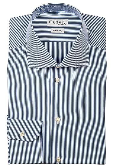 e3690730676588 Ernani Shirt - Poplin Blue Medium Stripe Slim Fit Shirt