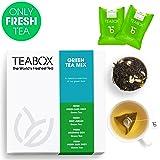 Teabox Green Teas Sampler Gift Box (4 Varieties - Earl Grey Tea, Darjeeling Organic Tea, Mint Tea, Jasmine Tea), 16 Tea Bags