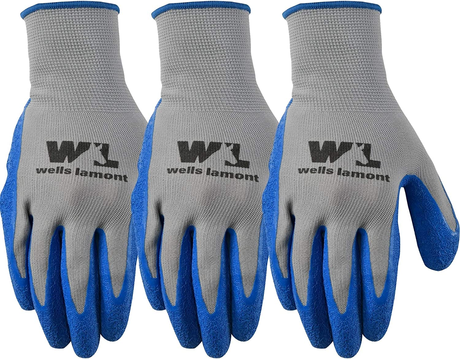3 Pair Pack Latex Grip Work Gloves, Extra Large (Wells Lamont 133XLF) , Grey
