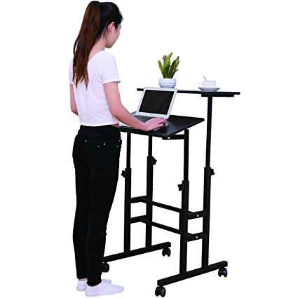 standing office table. SDADI Mobile Stand Up Desk Height Adjustable Home Office With Standing And Seating 2 Modes Table H