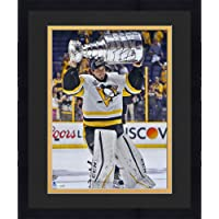 "Framed Marc-Andre Fleury Pittsburgh Penguins Autographed 16"" x 20"" Raising Cup Photograph - Autographed NHL Photos photo"