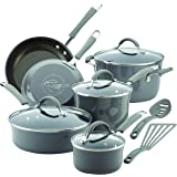 Rachael Ray 12 Piece Cucina Hard Porcelain Enamel Nonstick Cookware Set, Sea Salt Gray
