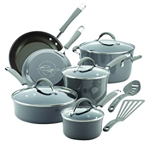 Rachael Ray Cucina Hard Porcelain Enamel Nonstick Cookware Set, 12-Piece, Sea Salt Gray