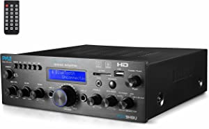 Wireless Bluetooth Home Stereo Amplifier - Multi-Channel 200 Watt Power Amplifier Home Audio Receiver System w/HDMI, Optical/Phono/Coaxial, FM Radio, USB/SD, AUX, RCA, Mic - Remote - Pyle PDA9HBU.5