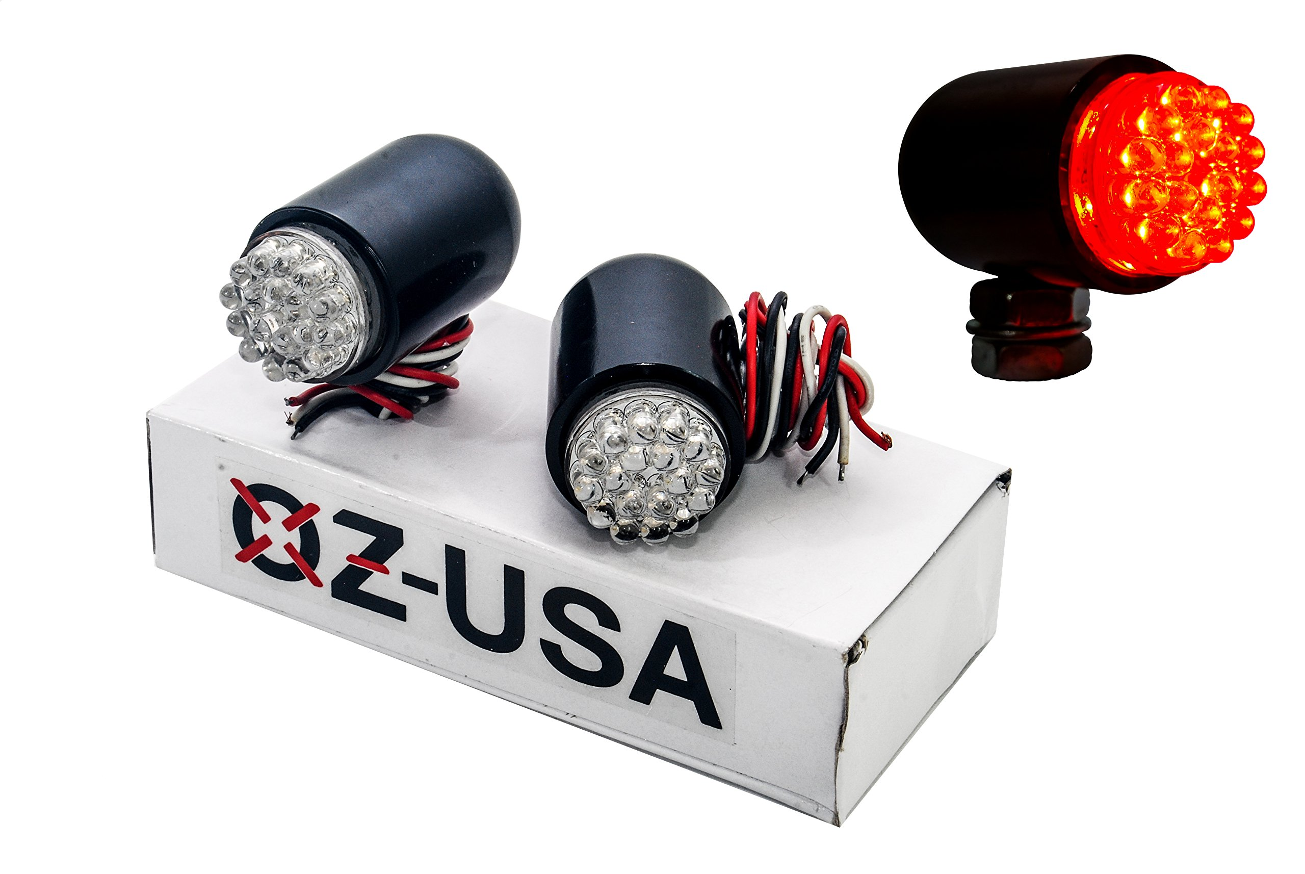 OZ-USA Motorcycle Tail Brake Light Turn Signal Red LED Black Custom Cruiser ATV 12 volts
