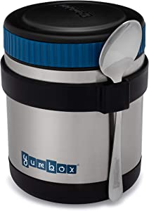 Yumbox Zuppa - Wide Mouth Thermal Food Jar 14 oz. (1.75 cups) with a removable utensil band - Triple Insulated Stainless Steel - Stays Hot 6 Hours or Cold for 12 Hours - Leak Proof-Twilight Black