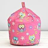 Owl Pink Purple Blue Floral Kids Childrens Cotton Beanbag Bean Bag With Filling