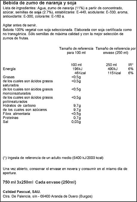 Vivesoy Zumo de Soja y Naranja - Paquete de 3 x 25 cl - Total: 0,75 l: Amazon.es: Amazon Pantry
