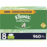 Kleenex Expressions Soothing Lotion Facial Tissues with Coconut Oil, Aloe & Vitamin E, 8 Flat Boxes, 120 Tissues Per Box (960