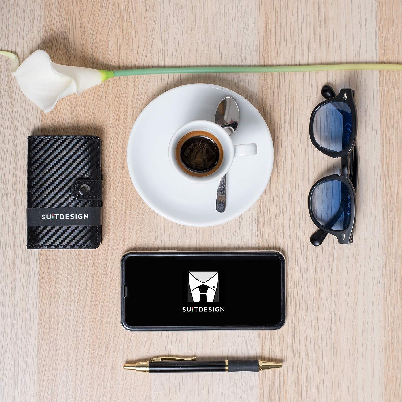 Porta Tarjetas de crédito Cartera Hombre y Mujer Slim Bloqueo RFID antirrobo con extracción Manual portatarjetas rígido de Aluminio blindado Billetera Elegante ecopiel y Fibra de Carbono Ideas Regalo: Amazon.es: Equipaje