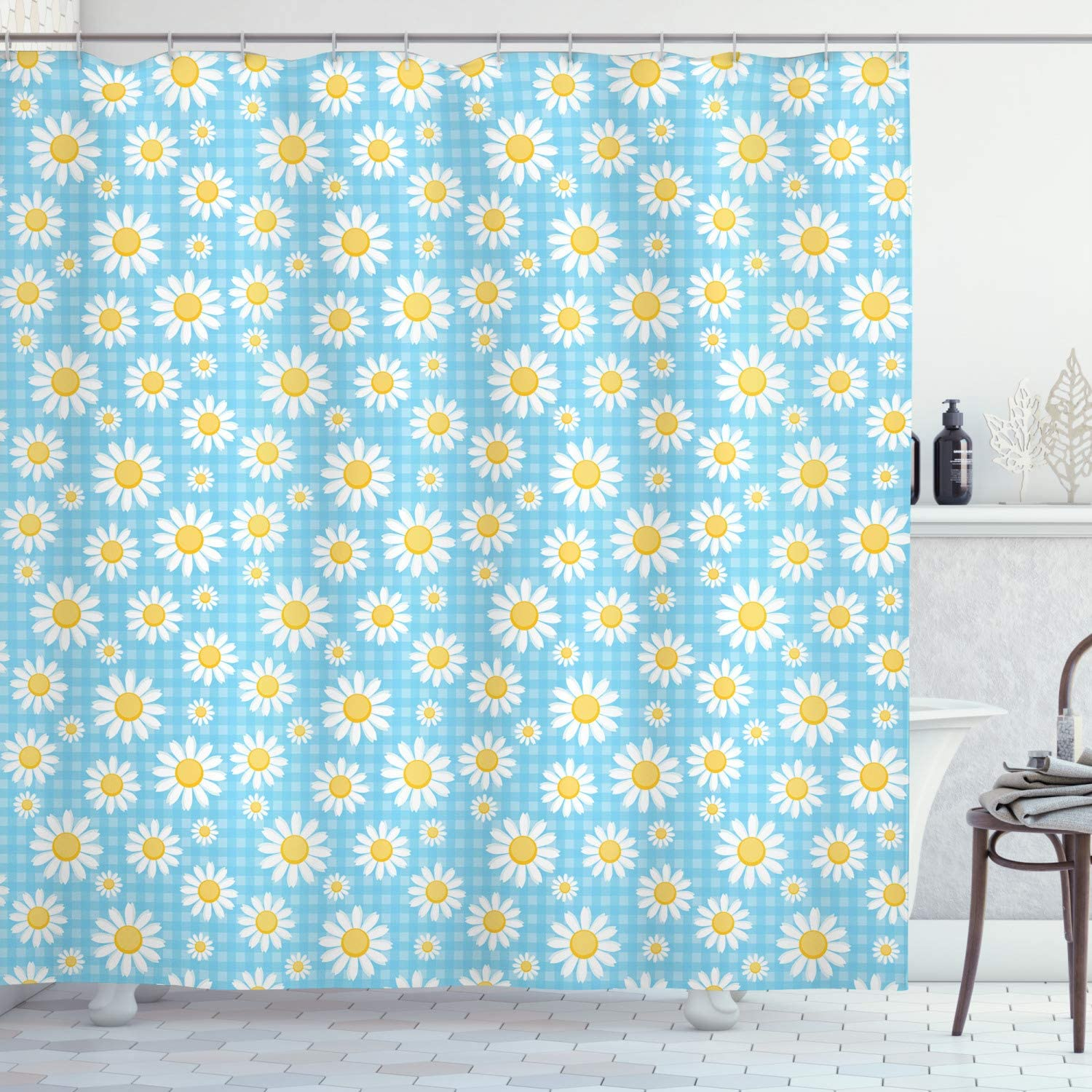 Ambesonne Flower Shower Curtain, Camomiles on Checkered Background Classics Timeless Pattern Tropic Plants, Cloth Fabric Bathroom Decor Set with Hooks, 70