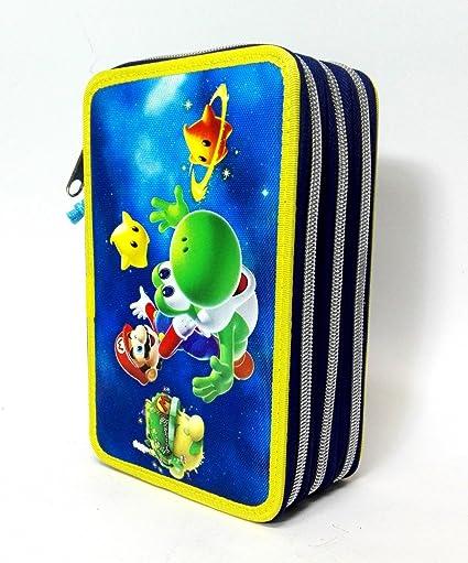 Estuche con 3 cremalleras de Super Mario Bros Galaxy 2, azul, escuela fantasía: Amazon.es: Oficina y papelería