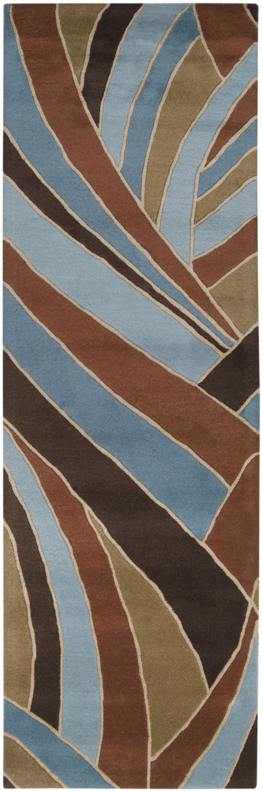 Surya Forum FM-7002 Contemporary Hand Tufted 100% Wool Russet 2'6'' x 8' Abstract Runner