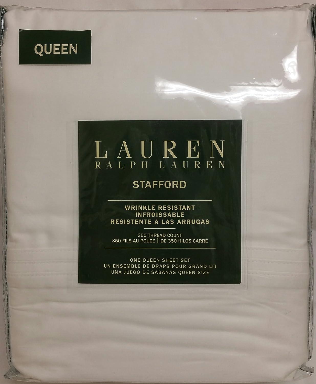 "Ralph Lauren 4 Pc Cotton Stafford Wrinkle Resistant Queen Sheet Set Deep Mattress 18"" - Solid White"