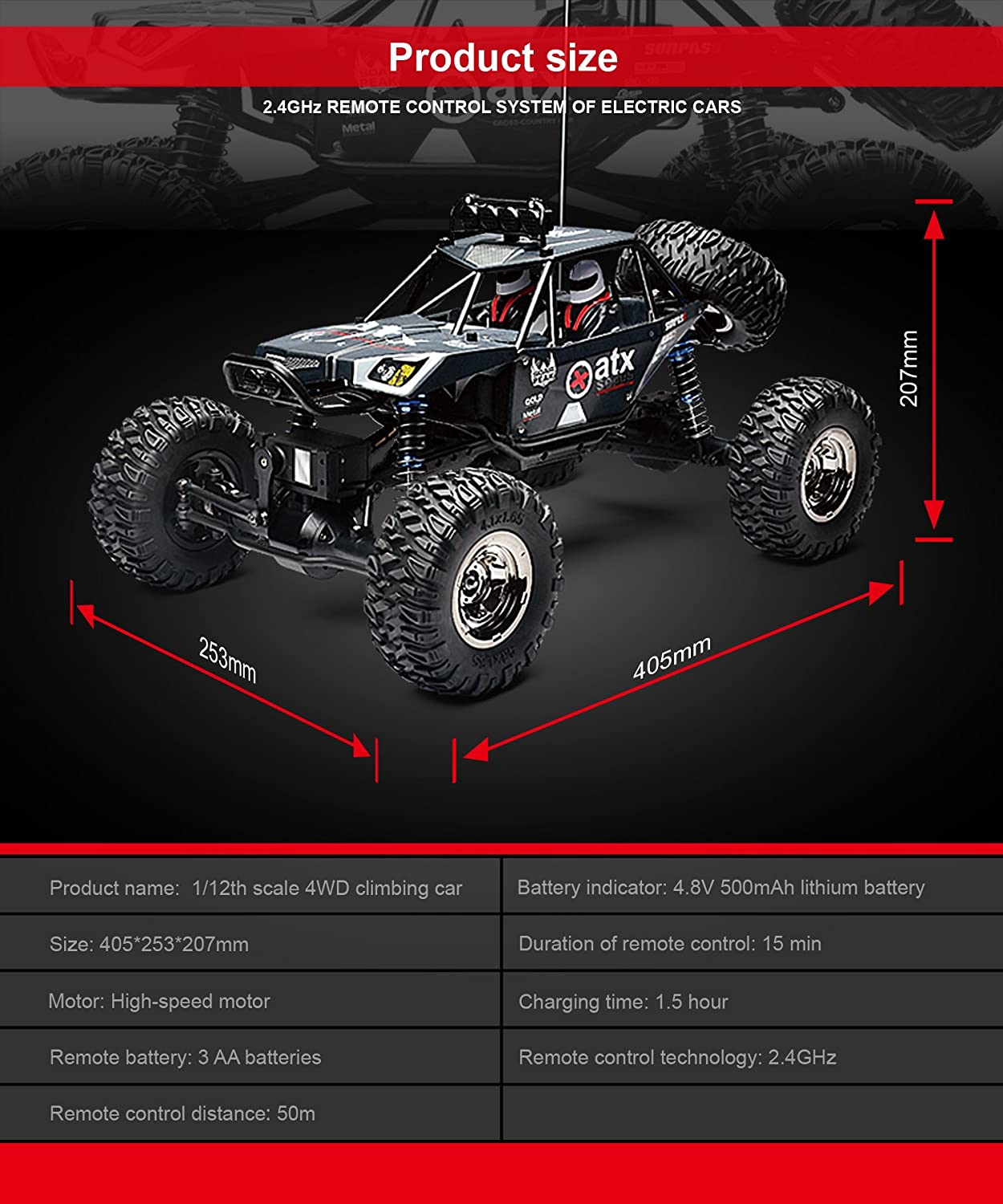 Demaxis 4x4 Offroad Remote Control Car Vehicles Rtr 4wd Brand Name Waterproof Gptoys Item Circuit Board Rc Cars Rock Crawler Monster Truck 1 12 Scale Outdoor Black Toys Games