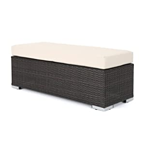 Great Deal Furniture Malibu Outdoor Multibrown Wicker Bench with Beige Water Resistant Cushion