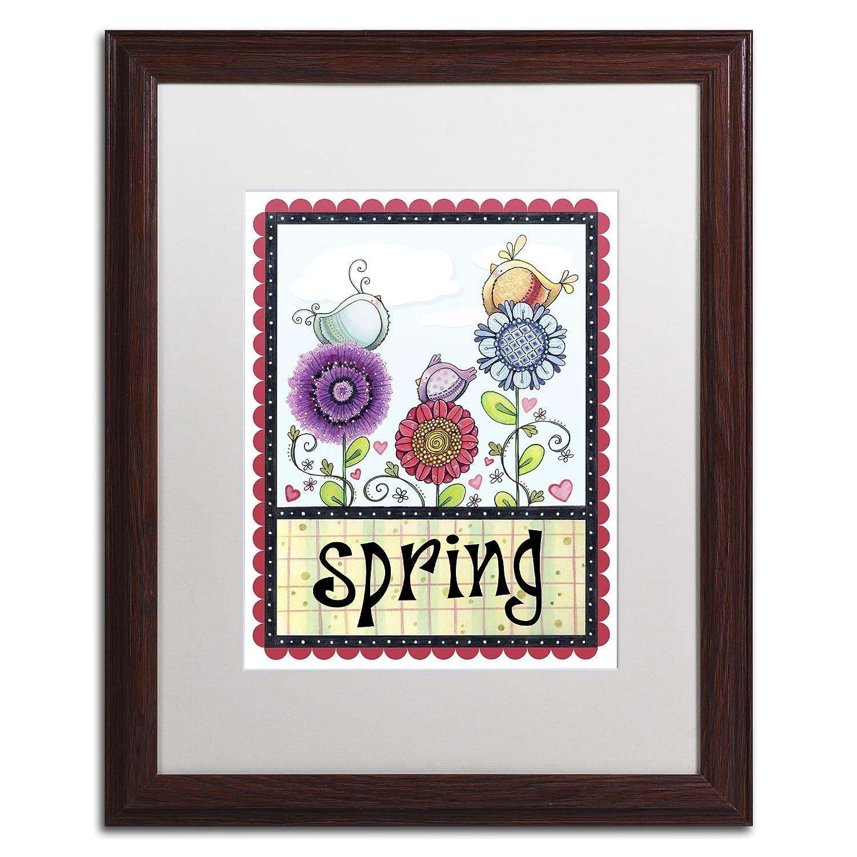 Spring Birds by Jennifer Nilsson、ホワイトマット、木製フレーム16 x 20インチ B01N0ABC4M