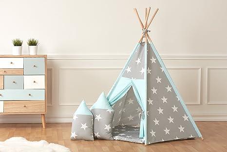 Fuerza Kids parte tienda Tipi grandes estrellas blancas sobre gris y diseño puntos blancos sobre Mint