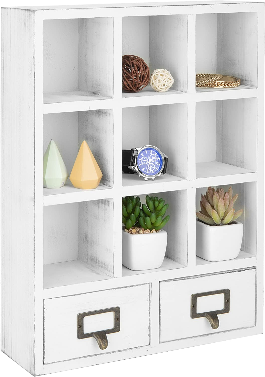 MyGift 9-Slot Vintage White Wall-Mounted Shadow Box Display Shelf with 2 Pullout Drawers