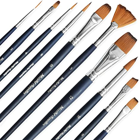 10PC//Set Artist Oil//Watercolor Paint Brush Crafts Art Painting Flat Pointed Tip