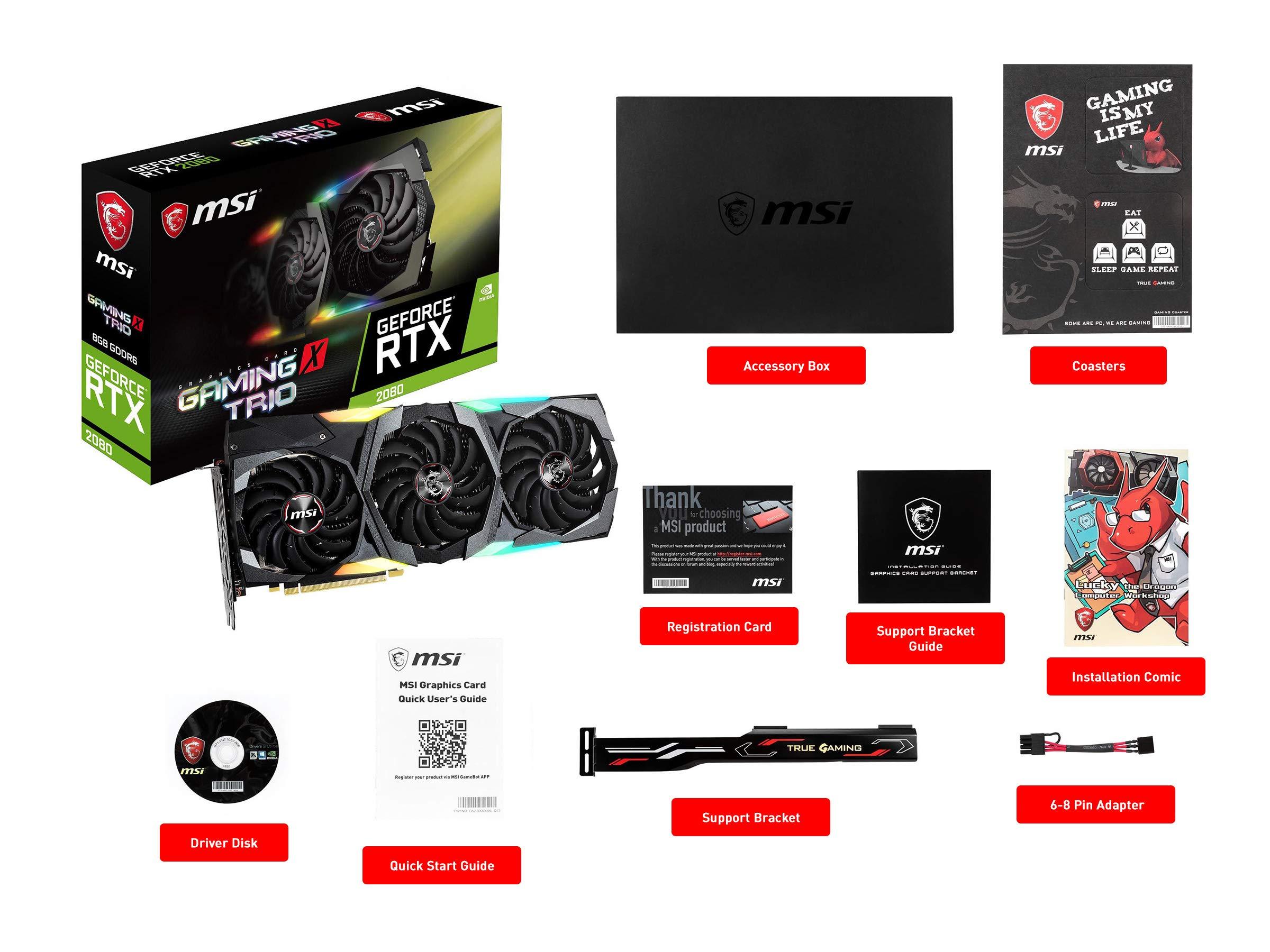 MSI Gaming GeForce RTX 2080 8GB GDRR6 256-bit VR Ready Graphics Card (RTX 2080 GAMING X TRIO) by MSI (Image #7)