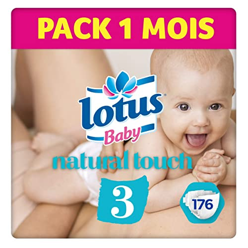 Lotus BabyTouch - Couche Taille 3 (4-9 kg) Pack 1 mois (176 couches)