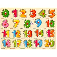 LazyToddler Educational Wooden Number Board for Kids with Knob, 1-20 Numbers for Toddler (1 - 20 Number)