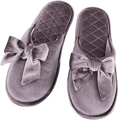WOMENS LADIES GIRLS NEW PINK PATTERN BOW COMFY WARM SOFT MULE HOME BED SLIPPER